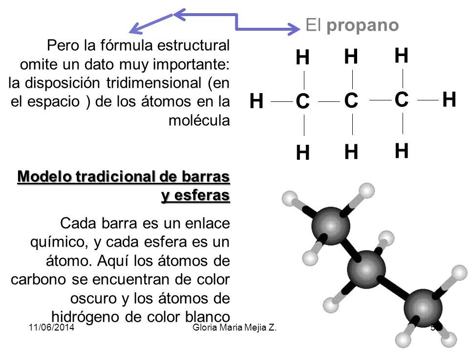 El propano Pero la fórmula estructural omite un dato muy importante: la disposición tridimensional (en el espacio ) de los átomos en la molécula.