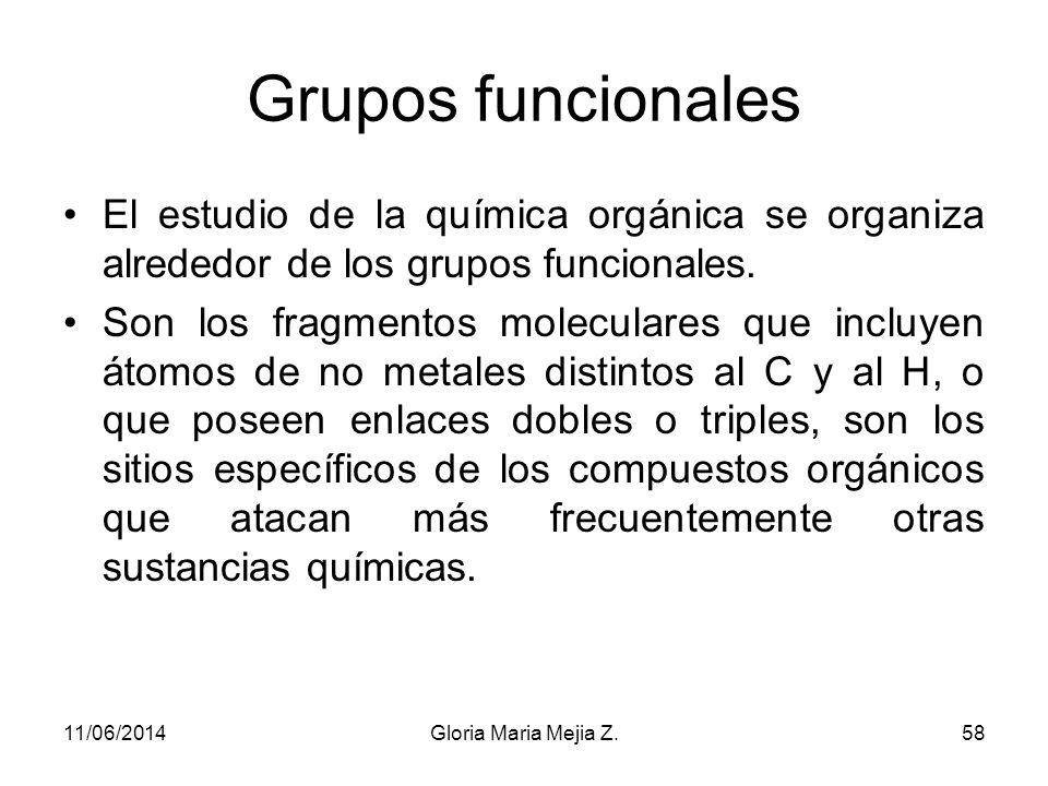 Grupos funcionales El estudio de la química orgánica se organiza alrededor de los grupos funcionales.