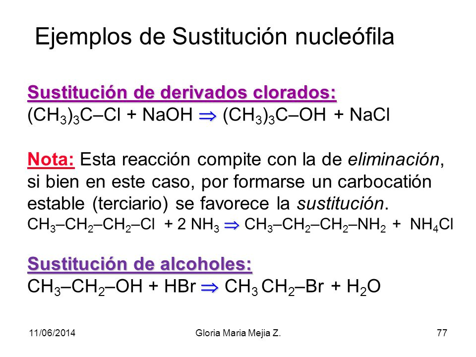 Ejemplos de Sustitución nucleófila