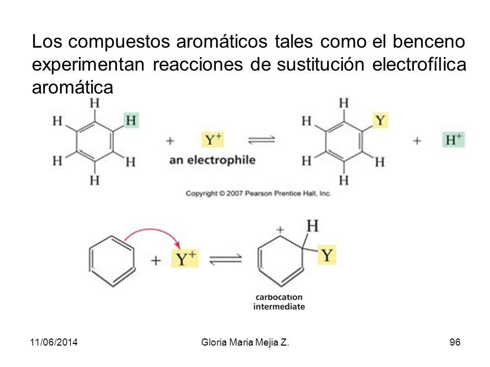 Los compuestos aromáticos tales como el benceno experimentan reacciones de sustitución electrofílica aromática