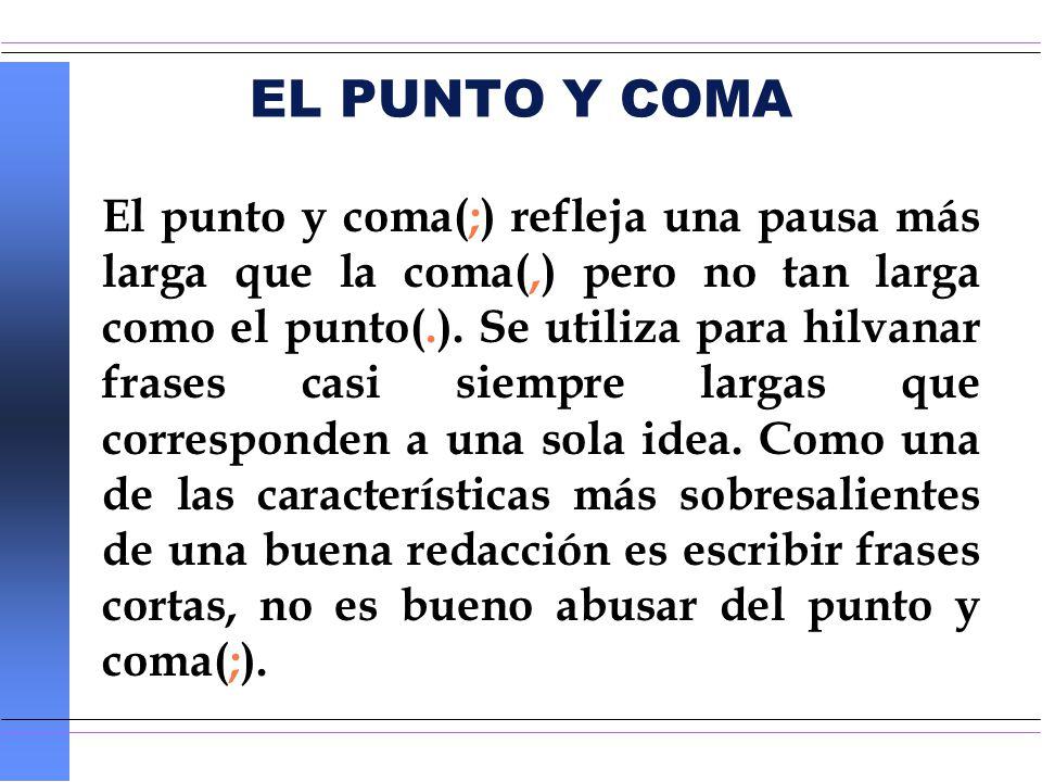 EL PUNTO Y COMA