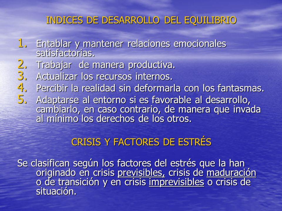 INDICES DE DESARROLLO DEL EQUILIBRIO