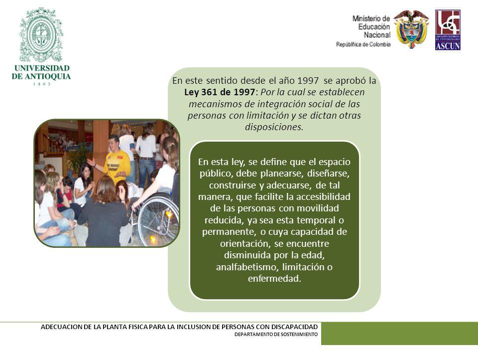 En este sentido desde el año 1997 se aprobó la Ley 361 de 1997: Por la cual se establecen mecanismos de integración social de las personas con limitación y se dictan otras disposiciones.