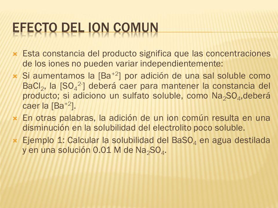 Efecto del ion comun Esta constancia del producto significa que las concentraciones de los iones no pueden variar independientemente: