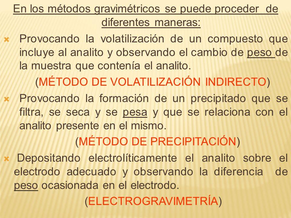 En los métodos gravimétricos se puede proceder de diferentes maneras: