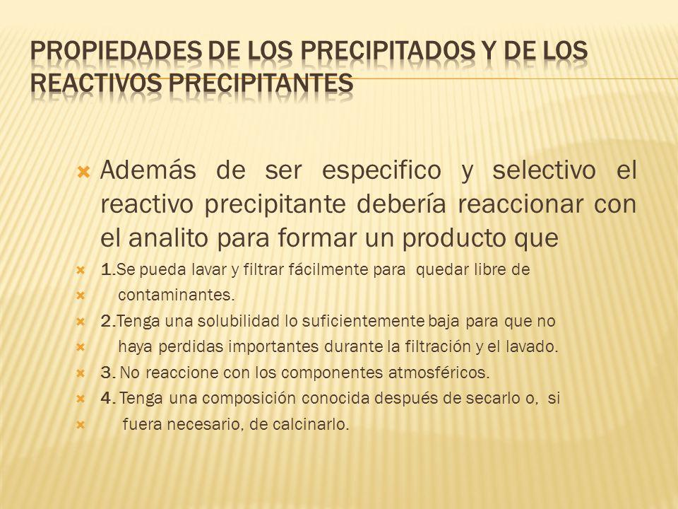 PROPIEDADES DE LOS PRECIPITADOS Y DE LOS REACTIVOS PRECIPITANTES