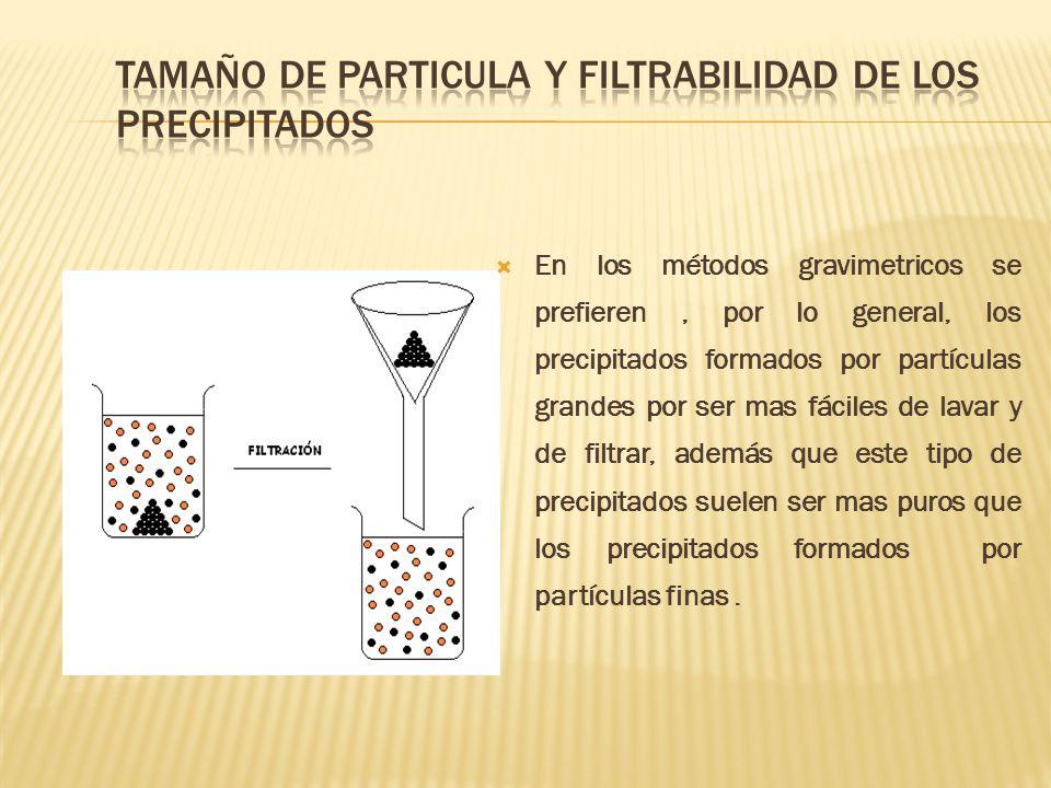 TAMAÑO DE PARTICULA Y FILTRABILIDAD DE LOS PRECIPITADOS