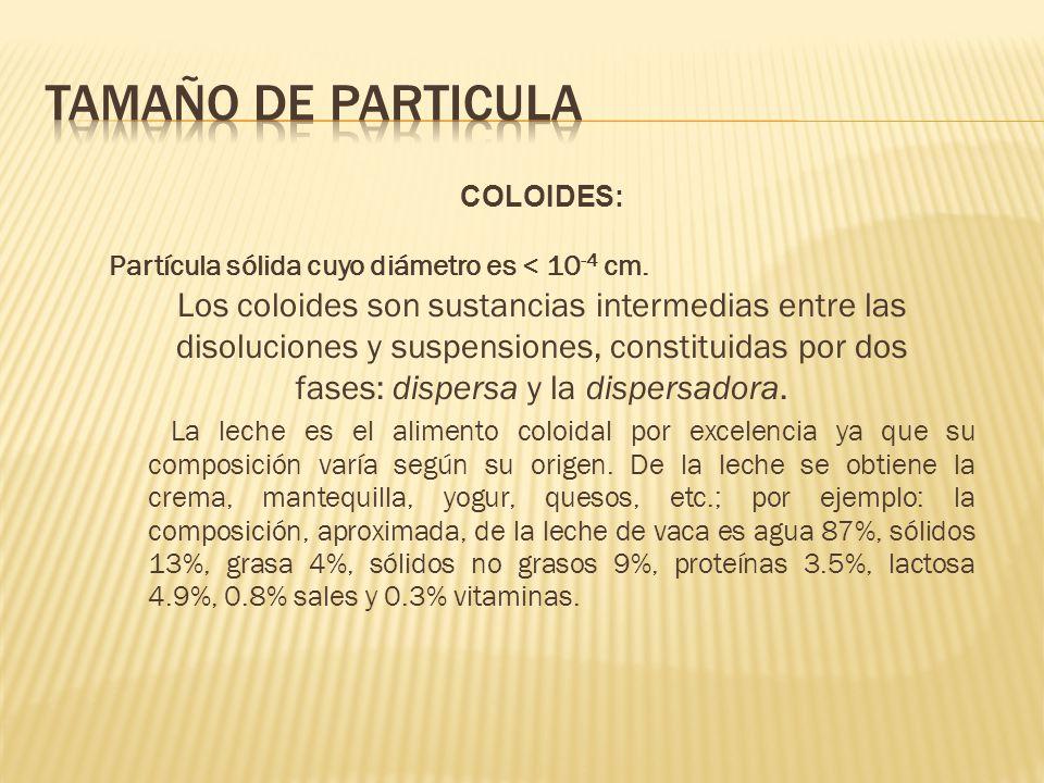 TAMAÑO DE PARTICULA Los coloides son sustancias intermedias entre las