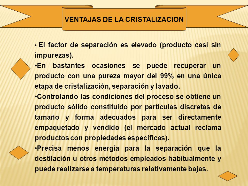 VENTAJAS DE LA CRISTALIZACION