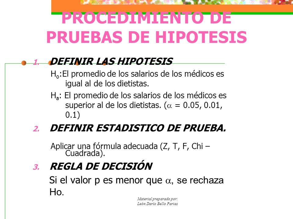 PROCEDIMIENTO DE PRUEBAS DE HIPOTESIS