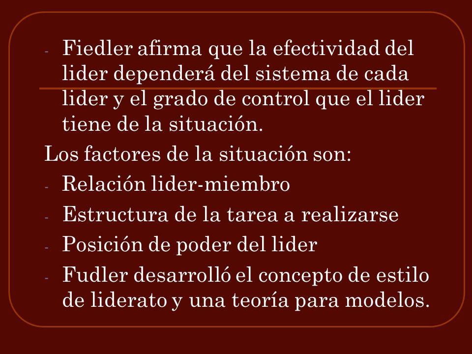 Fiedler afirma que la efectividad del lider dependerá del sistema de cada lider y el grado de control que el lider tiene de la situación.