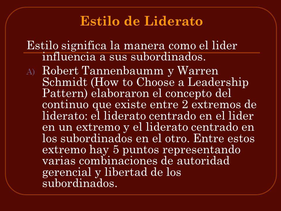 Estilo de LideratoEstilo significa la manera como el lider influencia a sus subordinados.