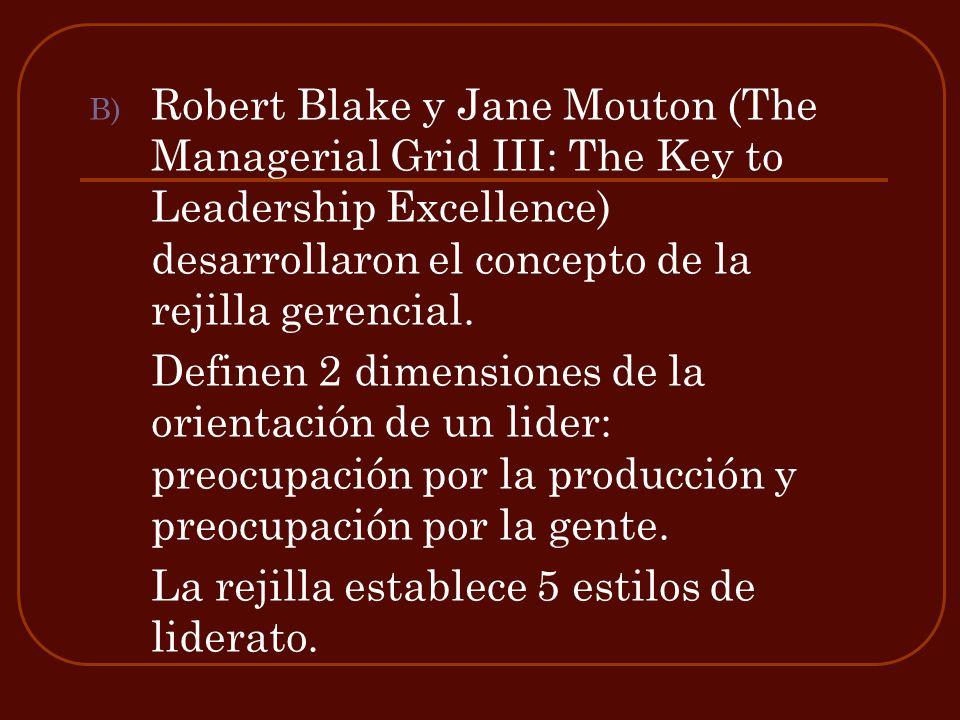 Robert Blake y Jane Mouton (The Managerial Grid III: The Key to Leadership Excellence) desarrollaron el concepto de la rejilla gerencial.
