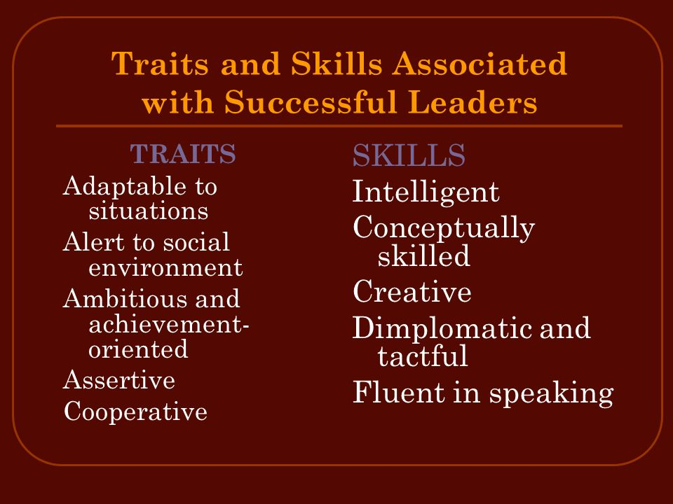 Traits and Skills Associated with Successful Leaders