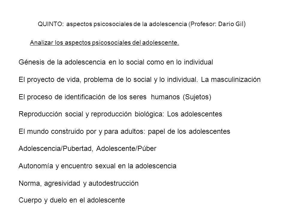 Génesis de la adolescencia en lo social como en lo individual