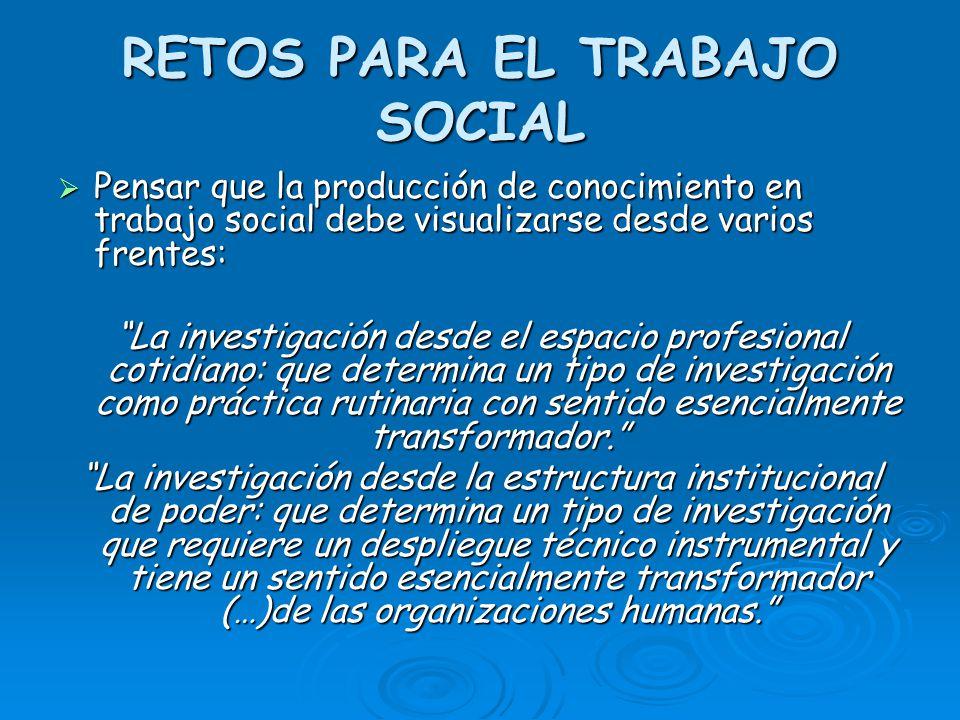 RETOS PARA EL TRABAJO SOCIAL