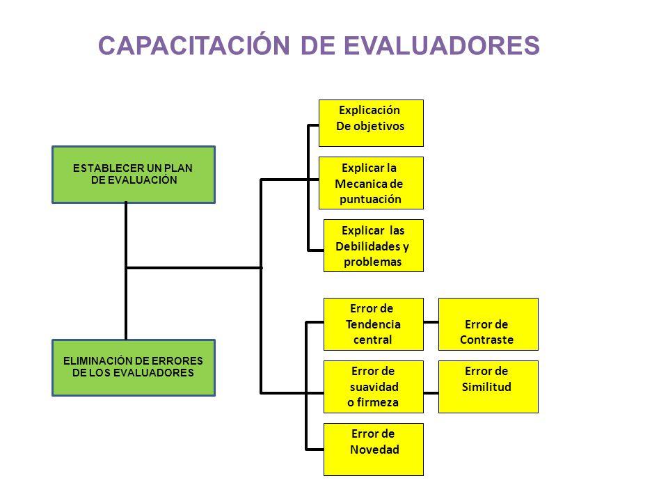 CAPACITACIÓN DE EVALUADORES ELIMINACIÓN DE ERRORES