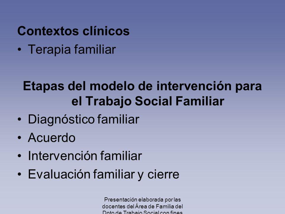 Etapas del modelo de intervención para el Trabajo Social Familiar