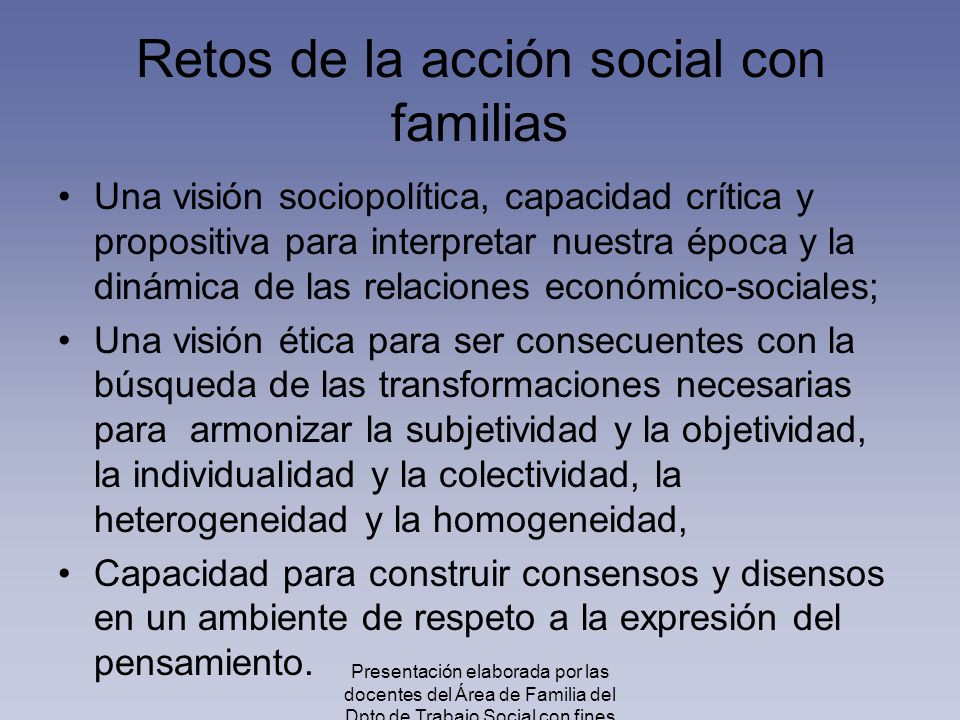Retos de la acción social con familias