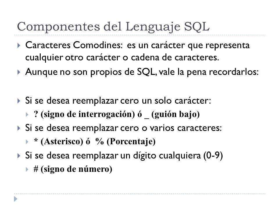 Componentes del Lenguaje SQL