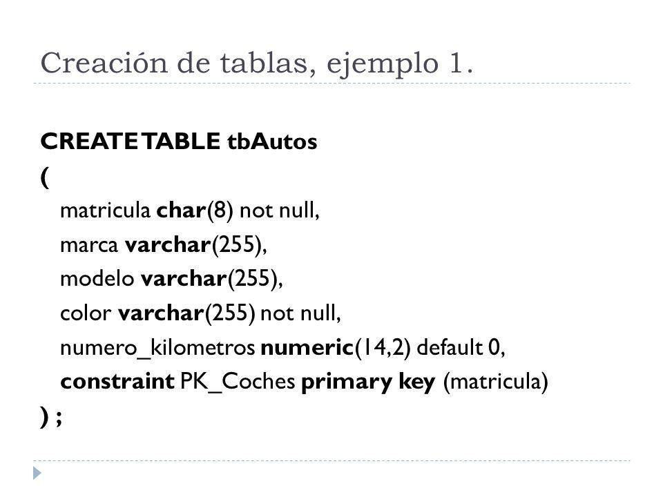 Creación de tablas, ejemplo 1.