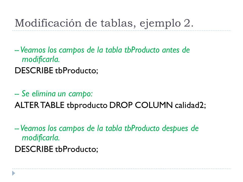 Modificación de tablas, ejemplo 2.