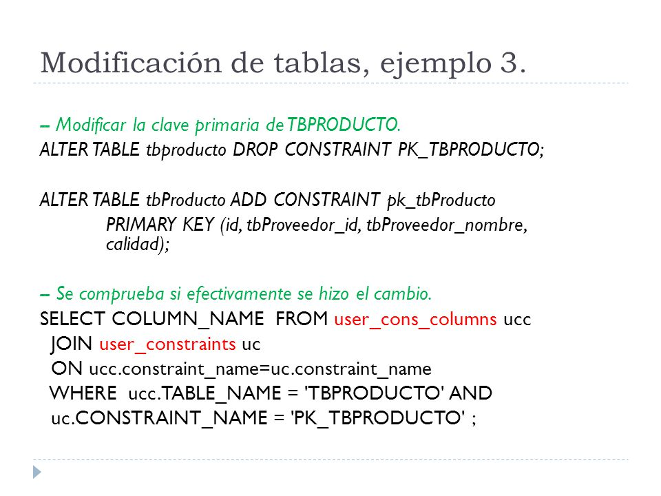 Modificación de tablas, ejemplo 3.