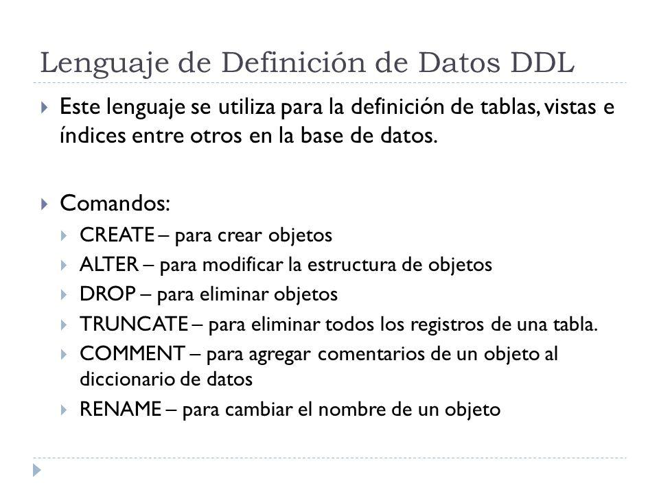 Lenguaje de Definición de Datos DDL