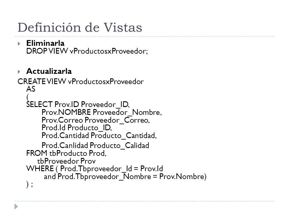 Definición de Vistas Eliminarla DROP VIEW vProductosxProveedor;