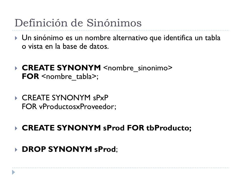Definición de Sinónimos
