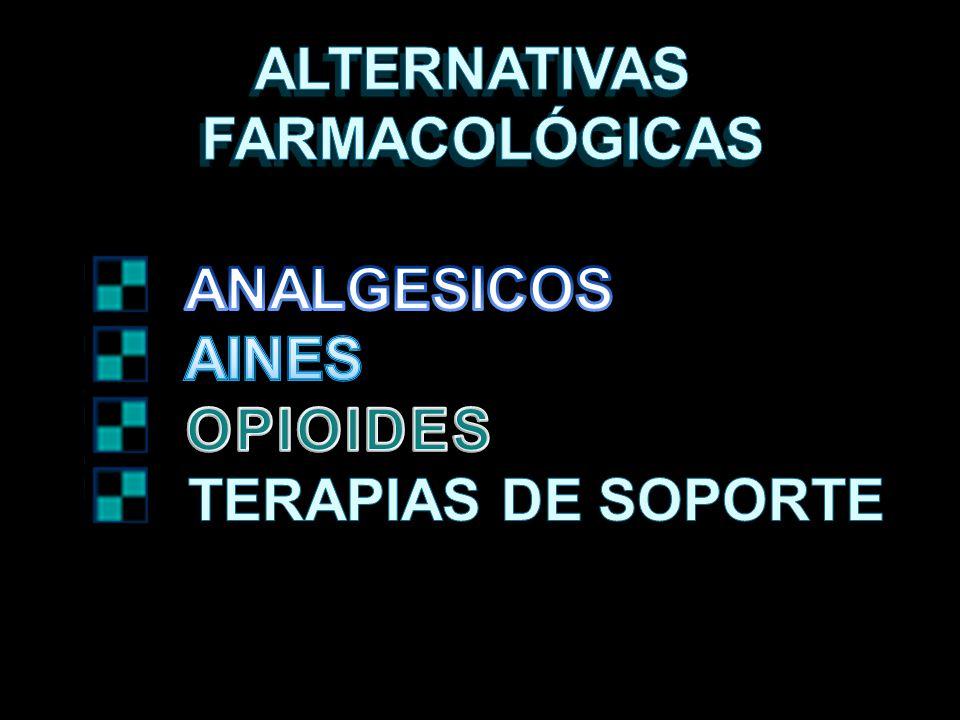 ALTERNATIVAS FARMACOLÓGICAS ANALGESICOS AINES OPIOIDES TERAPIAS DE SOPORTE