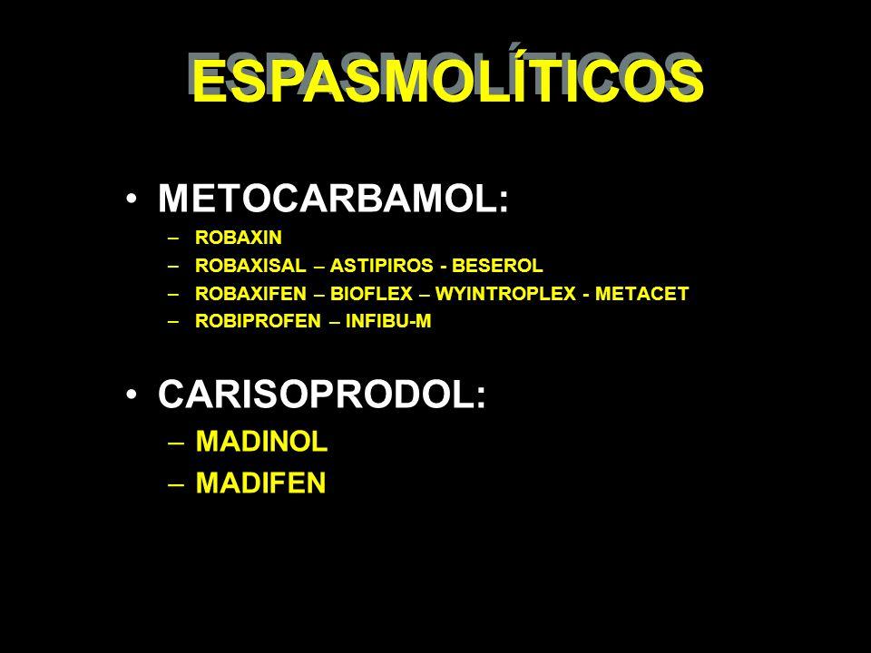 ESPASMOLÍTICOS METOCARBAMOL: CARISOPRODOL: MADINOL MADIFEN ROBAXIN