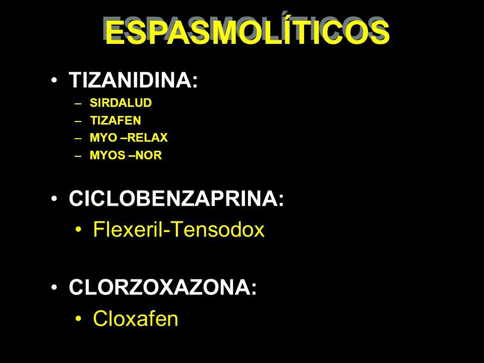 ESPASMOLÍTICOS TIZANIDINA: CICLOBENZAPRINA: Flexeril-Tensodox