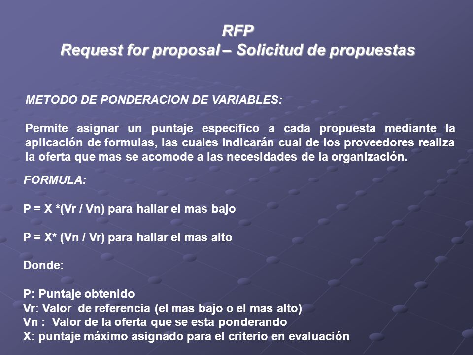 Request for proposal – Solicitud de propuestas