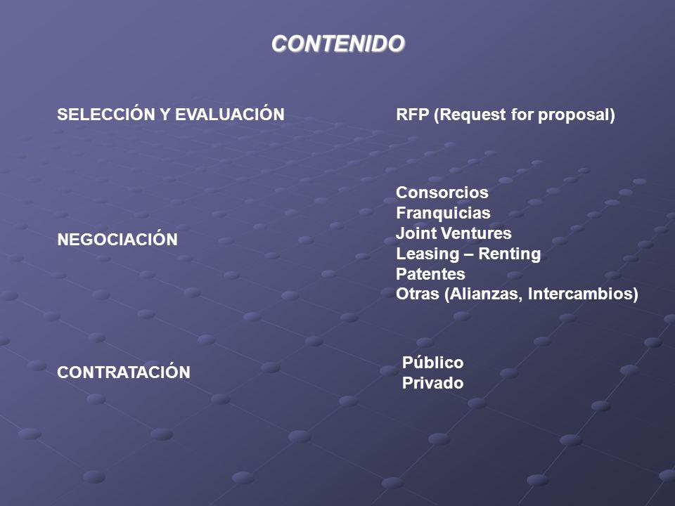 CONTENIDO SELECCIÓN Y EVALUACIÓN RFP (Request for proposal) Consorcios