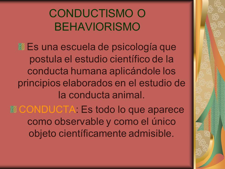CONDUCTISMO O BEHAVIORISMO