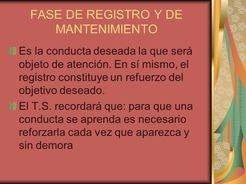 FASE DE REGISTRO Y DE MANTENIMIENTO