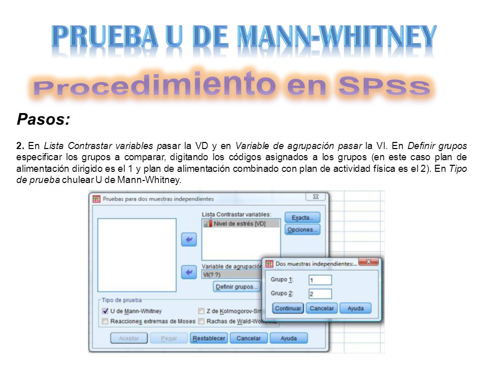Procedimiento en SPSS PRUEBA U DE MANN-WHITNEY Pasos: