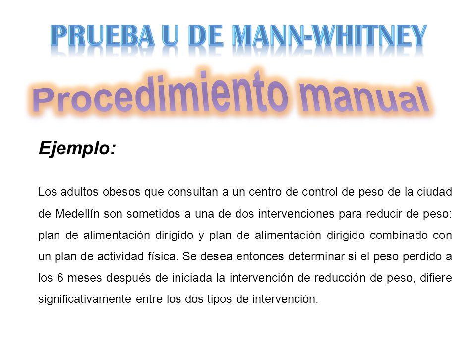 Procedimiento manual PRUEBA U DE MANN-WHITNEY Ejemplo: