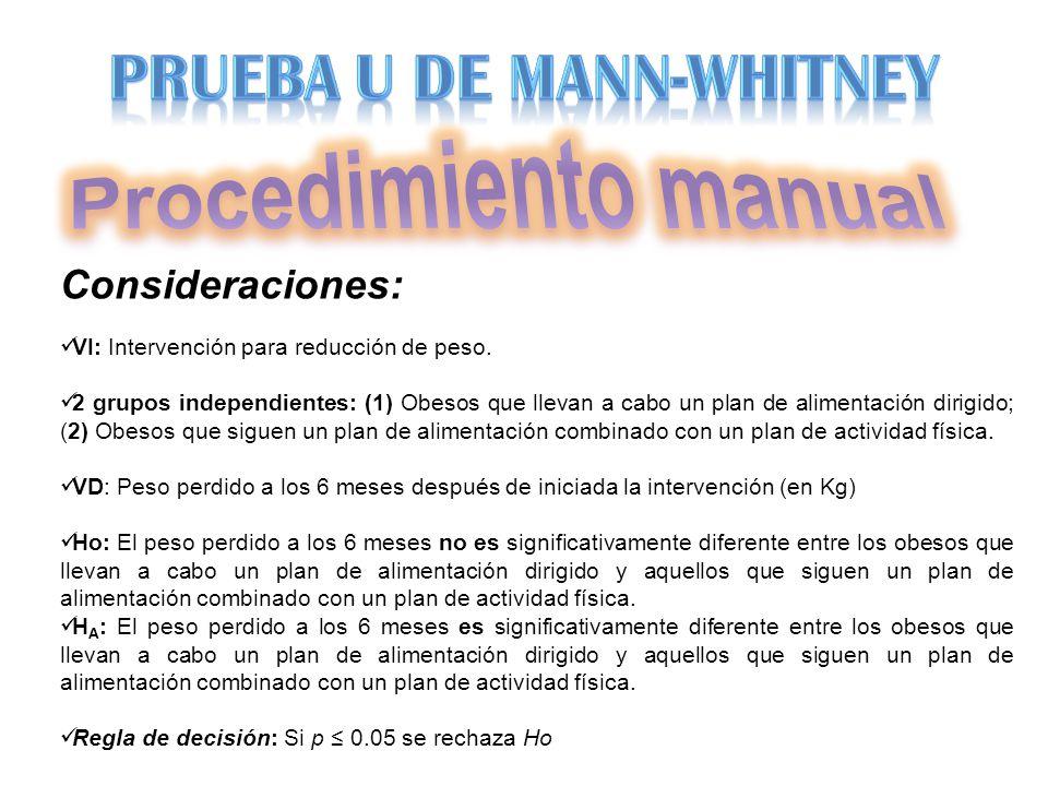 Procedimiento manual PRUEBA U DE MANN-WHITNEY Consideraciones: