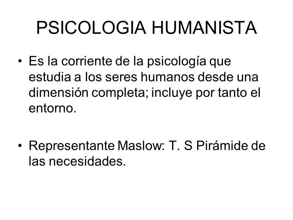 PSICOLOGIA HUMANISTA Es la corriente de la psicología que estudia a los seres humanos desde una dimensión completa; incluye por tanto el entorno.