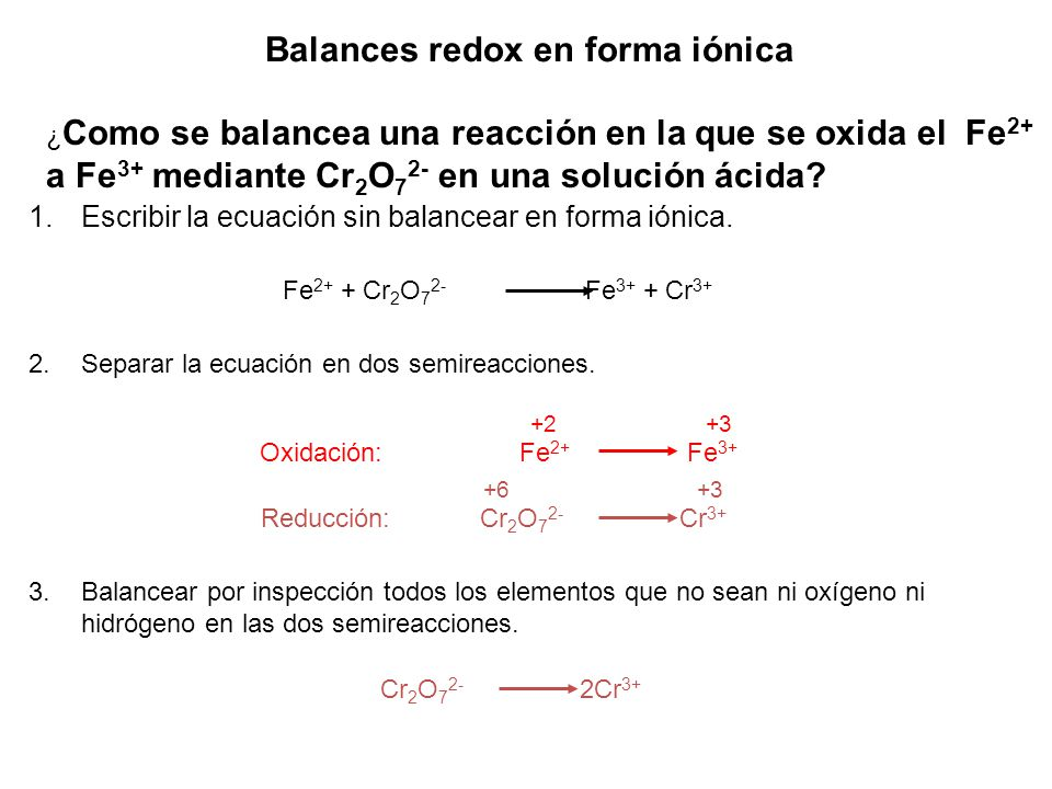 Balances redox en forma iónica