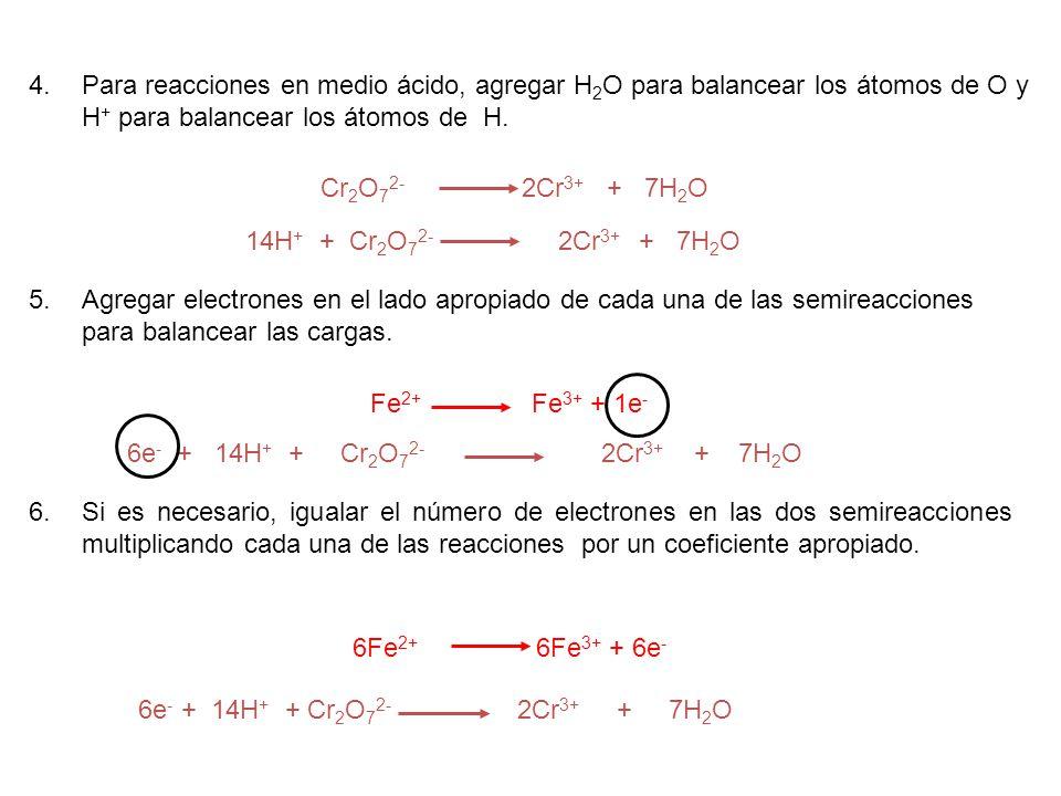 Para reacciones en medio ácido, agregar H2O para balancear los átomos de O y H+ para balancear los átomos de H.