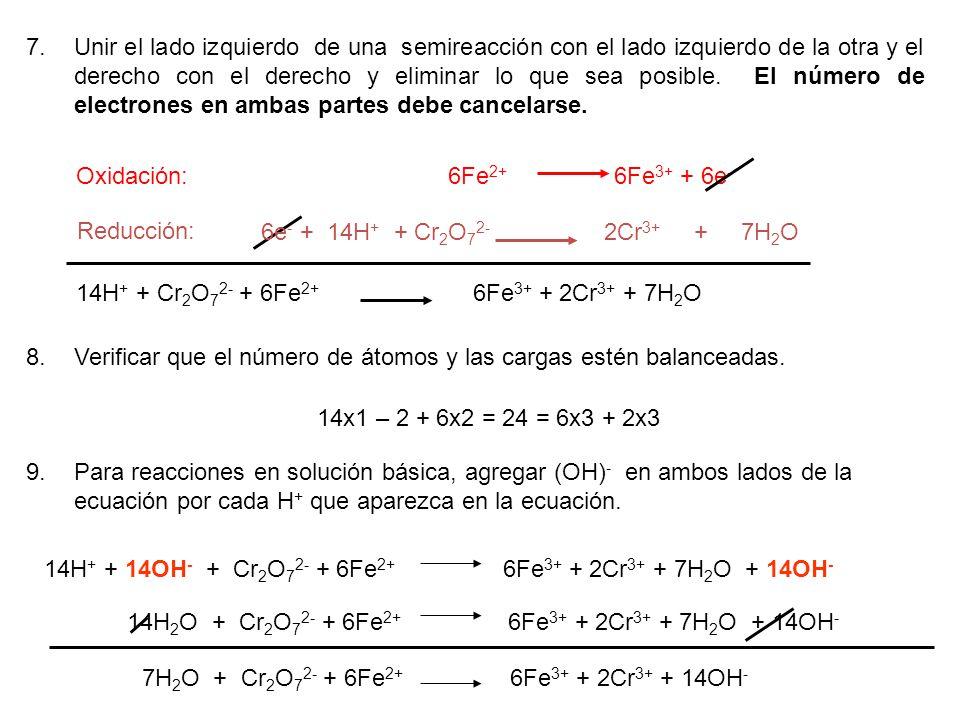 Unir el lado izquierdo de una semireacción con el lado izquierdo de la otra y el derecho con el derecho y eliminar lo que sea posible. El número de electrones en ambas partes debe cancelarse.