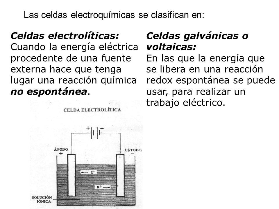 Las celdas electroquímicas se clasifican en: