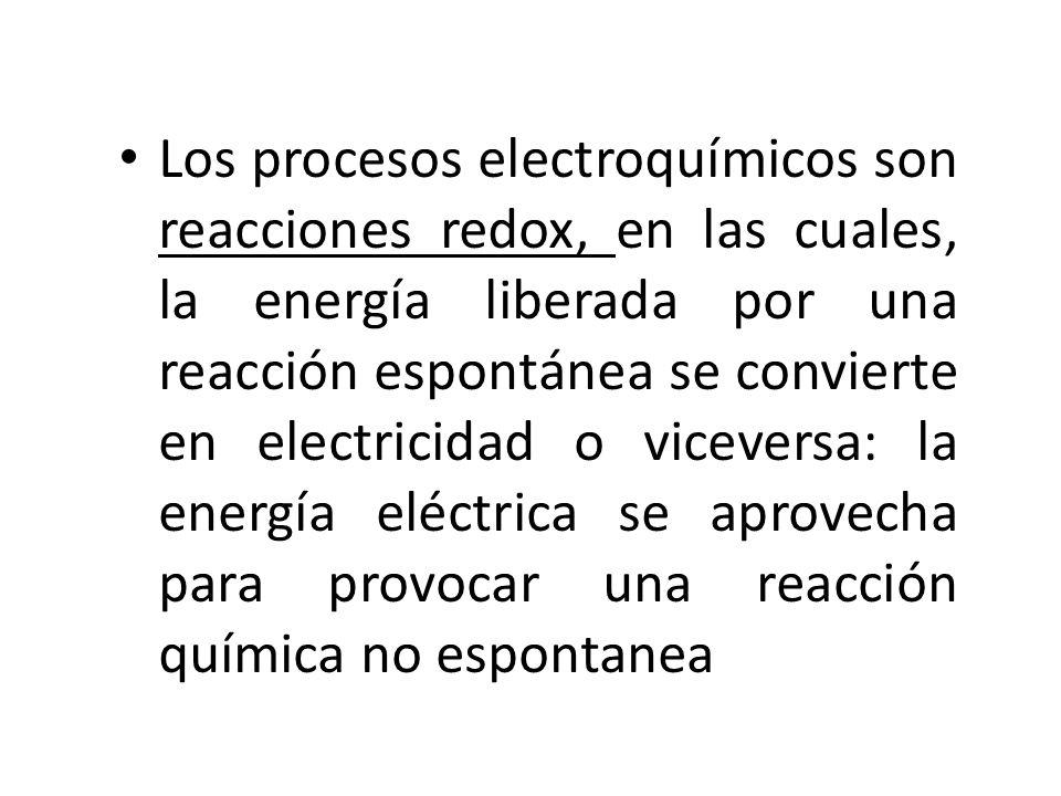 Los procesos electroquímicos son reacciones redox, en las cuales, la energía liberada por una reacción espontánea se convierte en electricidad o viceversa: la energía eléctrica se aprovecha para provocar una reacción química no espontanea