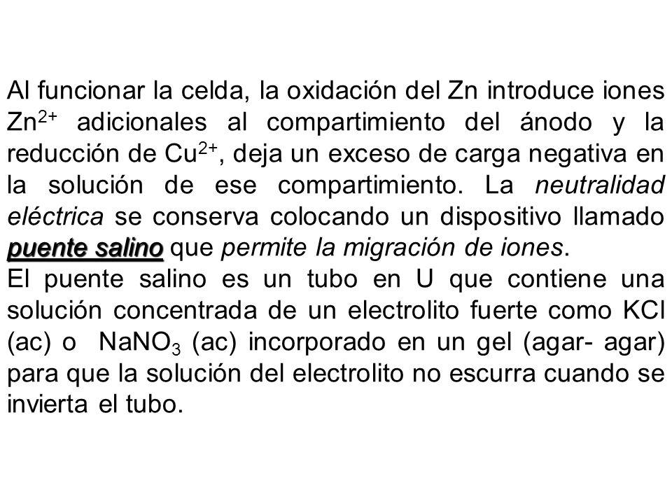 Al funcionar la celda, la oxidación del Zn introduce iones Zn2+ adicionales al compartimiento del ánodo y la reducción de Cu2+, deja un exceso de carga negativa en la solución de ese compartimiento. La neutralidad eléctrica se conserva colocando un dispositivo llamado puente salino que permite la migración de iones.