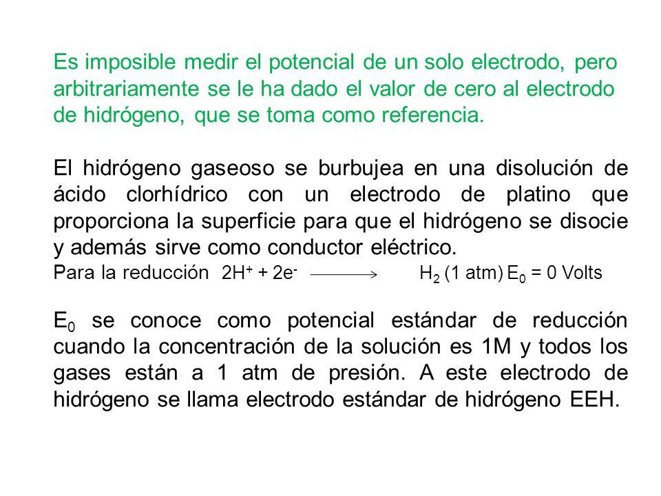 Es imposible medir el potencial de un solo electrodo, pero arbitrariamente se le ha dado el valor de cero al electrodo de hidrógeno, que se toma como referencia.