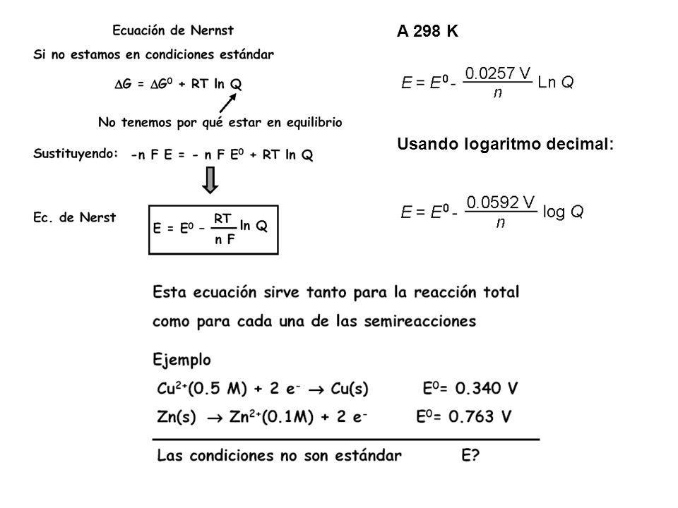 A 298 K Usando logaritmo decimal: