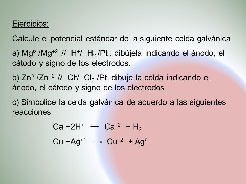 Ejercicios: Calcule el potencial estándar de la siguiente celda galvánica.